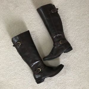 Dark Brown Leather Riding Boots- Size 8.5